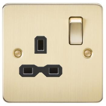 Flat Plate Brushed Satin Brass Single Socket - With Black Interior
