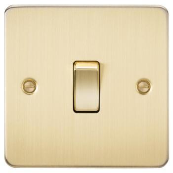 Flat Plate Brushed Satin Brass Light Switch - Single 1 Gang 2 Way