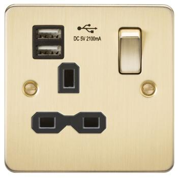 Flat Plate Brushed Satin Brass USB Single Socket - With Black Interior
