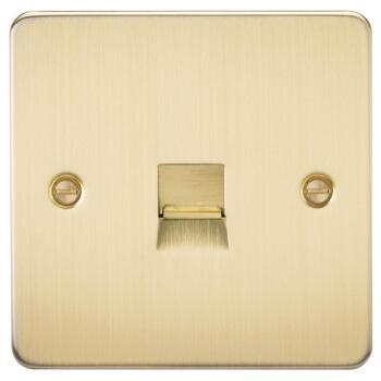 Flat Plate Brushed Satin Brass Phone BT Socket - Master