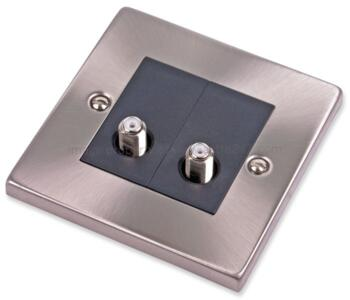 Satin Chrome Double Satellite Socket Outlet - With Black Interior