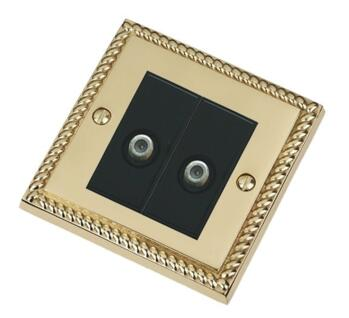 Georgian Brass Double Satellite Socket Outlet - With Black Interior