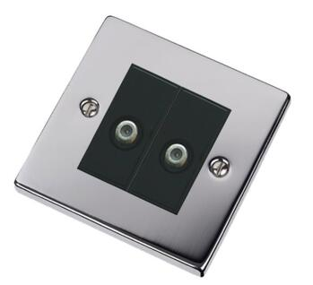 Polished Chrome Double Satellite Socket Outlet - With Black Interior