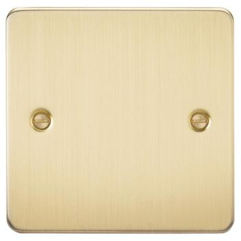Flat Plate Brushed Satin Brass Blank Plate - Single 1 Gang