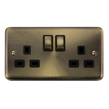 Curved Antique Brass Double Socket - 2 Gang