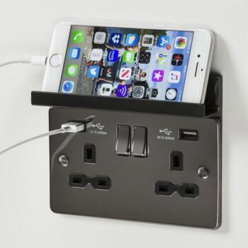 Curved Antique Brass USB Socket - Foldaway Phone Holder