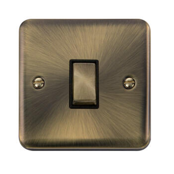Curved Antique Brass Light Switch - Single 1 Gang 2 Way