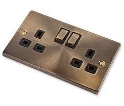 Antique Brass Double Socket - 2 Gang - OUT OF STOCK - DUE 28/5