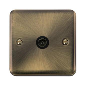 Curved Antique Brass TV / Satellite Socket - Single TV