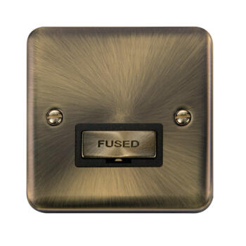 Curved Antique Brass 13a Fused Spur - Unswitched