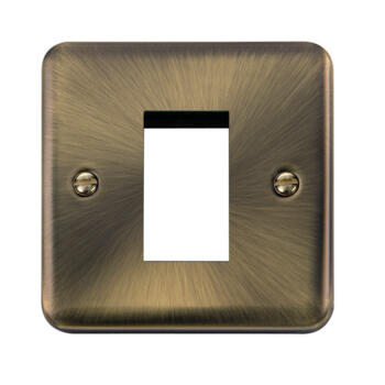 Curved Antique Brass Euro Data Plate - 1 Module Single Plate