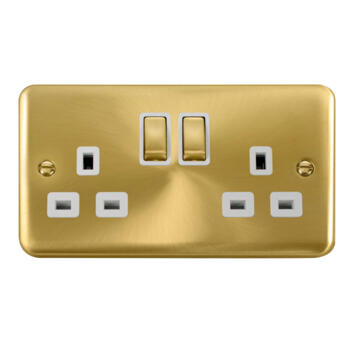 Curved Satin Brass Double Socket - White Interior