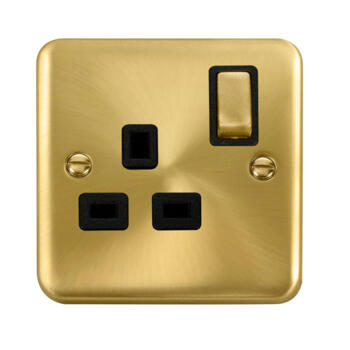 Curved Satin Brass Single Socket - Black Interior