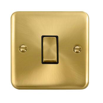 Curved Satin Brass Light Switch Black Insert - 1 Gang 2 Way