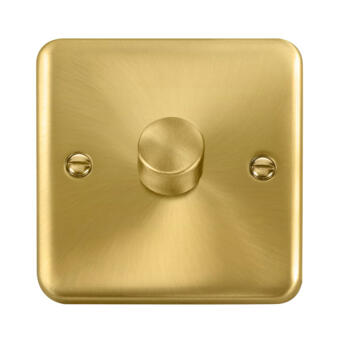 Curved Satin Brass Dimmer Switch - 1 Gang 400w 1 or 2 way