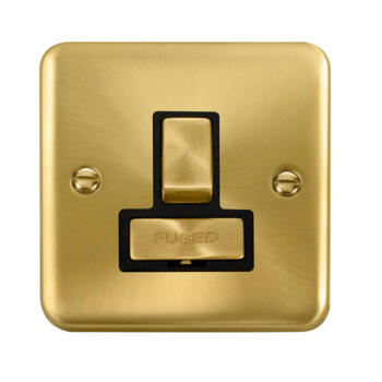 Curved Satin Brass 13A Fused Spur - Black Interior Switched