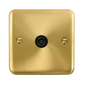 Curved Satin Brass TV Aerial Co-Ax / Satellite Socket - Black Interior TV