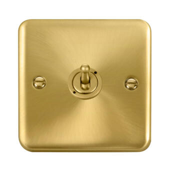 Curved Satin Brass Toggle Switch - 1 Gang 2 Way Single