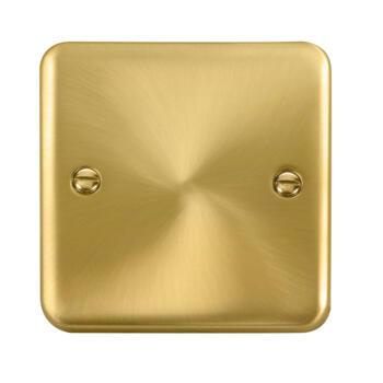 Curved Satin Brass Blank Plate - 1 Gang Single