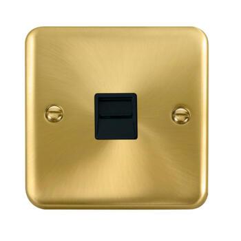 Curved Satin Brass Telephone Socket - Black Interior Master