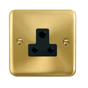 Curved Satin Brass Round Pin Socket - Black Interior 5A