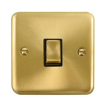 Curved Satin Brass 20A DP Switch - Black Interior