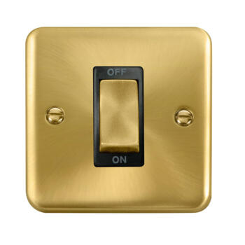 Curved Satin Brass Cooker / Shower Isolator Switch 45A - Black Interior