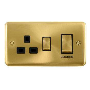Curved Satin Brass 45A Cooker Switch & 13A Socket - Black Interior