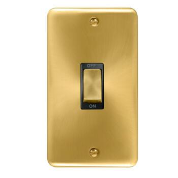 Curved Satin Brass Vertical 45A DP Cooker / Shower Switch  - Black Interior
