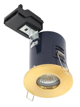 Satin Brass Fire Rated Shower Downlight IP65 GU10 - Fitting Only