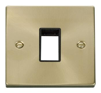 Satin Brass Empty Grid Switch Plate  - 1 module with white interior