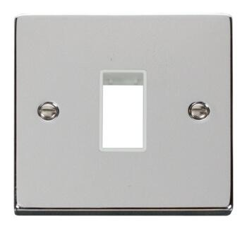 Polished Chrome Empty Grid Switch Plate - 1 module with white interior