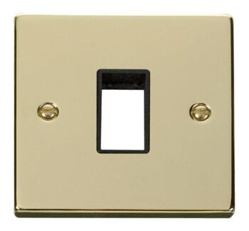 Polished Brass Empty Grid Switch Plate - 1 module with black interior