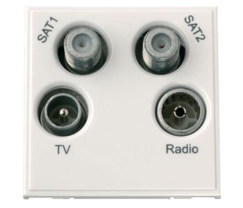 New Media Module - Quad TV, Radio, Sat1 & 2 Module - Quad Module - Polar White