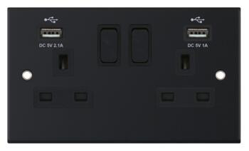 Slimline Matt Black USB Charger Socket - Double with 2 x Type A USB