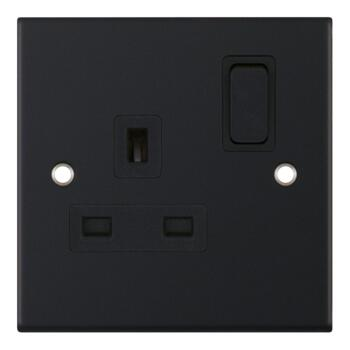 Slimline Matt Black Single Socket - 1 Piece