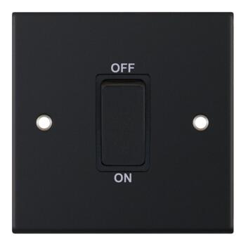Slimline Matt Black 45A DP Cooker/Shower Switch - Without Neon