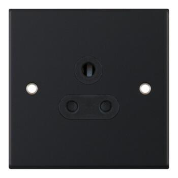 Slimline Matt Black Round Pin Socket - 5A Round Pin