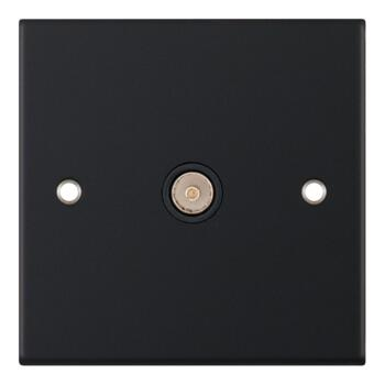 Slimline Matt Black TV/Satellite Socket Outlet - 1 Gang TV Coax