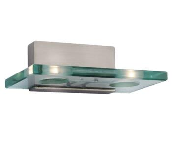 Solar Wall Light - Brushed Steel 2 Light 5475BS - With Light Green Glass