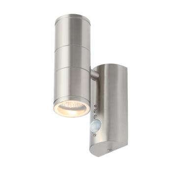 Stainless Steel Coastal Up/Down GU10 Wall Light With PIR - CZ-29319-SST