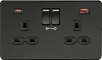 Screwless Matt Black Double Socket with Dual Fastcharge Ports (A+C) - SFR9909MBB