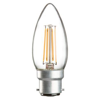 Bayonet cap LED candle shape bulb with clear filament that gives a warm cosy glow.