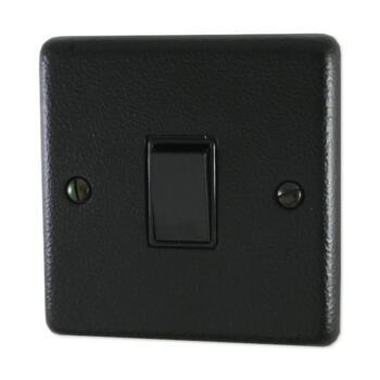 Hammered Matt Black 1G 2W Light Switch - 1 Piece