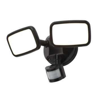 Matt Black 20W IP65 PIR Twin Spotlight  - ZN-35688-BLK