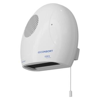 Bathroom fan heater that is wall mounted with pull cord switch timer operation
