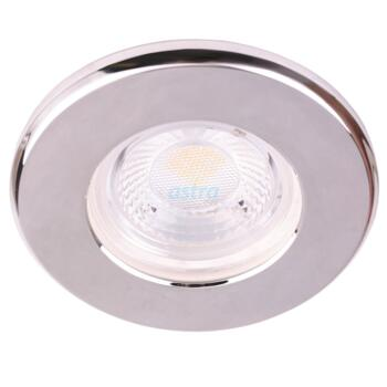 Brushed Chrome 5w IP65 LED Fire Rated Downlight - 3000K Warm White Fitting