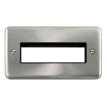 Curved Satin Chrome Build Your Own Light Switch - 6 module with black interior