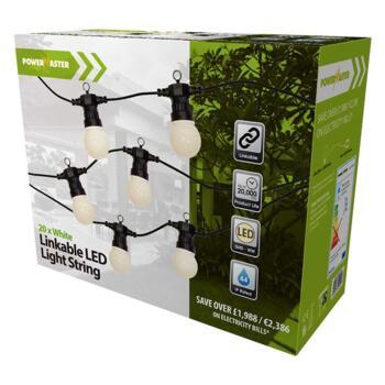 20 White LED Linkable Festoon String Lights 14.5m - Buy 2 sets for £64.98