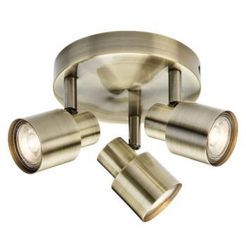 Antique Brass 3 Light Spotlight Fitting - Fitting Only